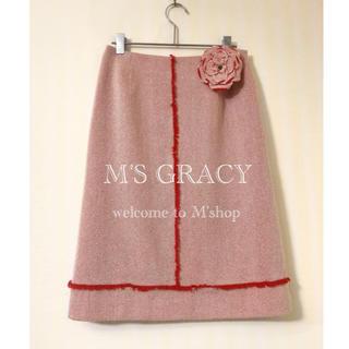 M'S GRACY - エムズグレイシー ✽ コサージュ付きツイードスカート ✽ 日本製
