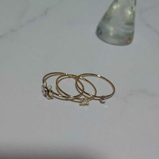 11~12号 お花モチーフとラインストーンのゴールド色リングセット 新品未使用(リング(指輪))