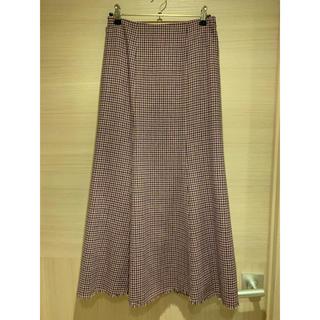 Lily Brown - リリーブラウン ピンク×パープル×カーキ 千鳥柄ロングスカート