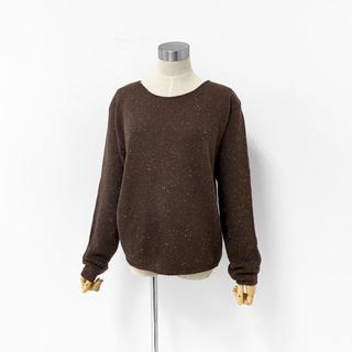 《Vintage Old》ボートネック セーター ネップ編み ワイド ショート(ニット/セーター)