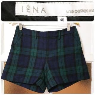 IENA - イエナ ウール グリーン×ネイビー チェック柄 ショートパンツ 40(Lサイズ)