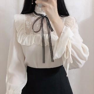 ❤大人気 ホワイト 白 長袖 フリル リボン ブラウス Lサイズ❤(シャツ/ブラウス(長袖/七分))