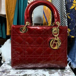 クリスチャンディオール(Christian Dior)のレディディオール エナメルレッド(ハンドバッグ)