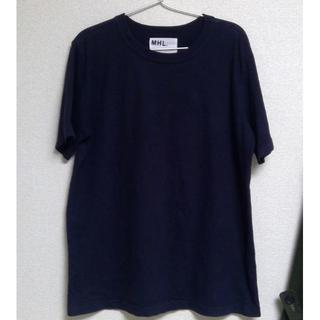 マーガレットハウエル(MARGARET HOWELL)の半額以下 日本製 MHL マーガレットハウエル 厚手 Tシャツ L ネイビー(Tシャツ/カットソー(半袖/袖なし))