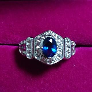 ブルーサファイア&34石キュービックジルコニアの指輪(17号)         (リング(指輪))
