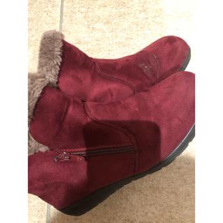 ブーツ ムートン レディース  赤 24センチ(ブーツ)