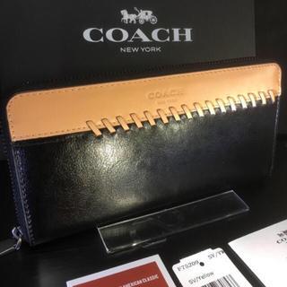 COACH - プレゼントにも❤️新品コーチ正規品美しい光沢カーフレザーラウンドファスナー長財布