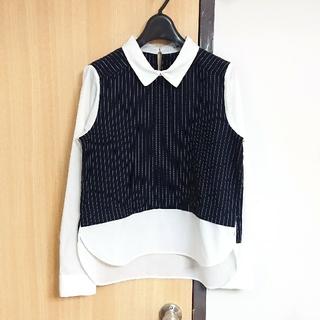 dholic - 【新品】襟付きストライプシャツ ネイビー