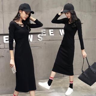 セール!!ワンピース  Tシャツ ロングスカート ワンピ ロンT M ブラック(ロングワンピース/マキシワンピース)