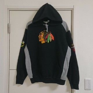 Majestic - NHL ブラックホークス パーカー 刺繍ロゴ 古着 マジェスティック
