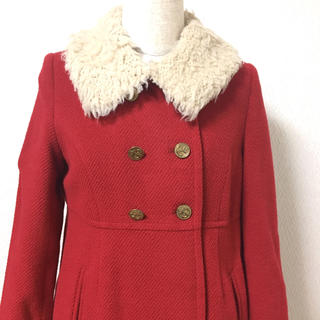 JaneMarple - アンゴラカルゼのシープカラーコート 赤