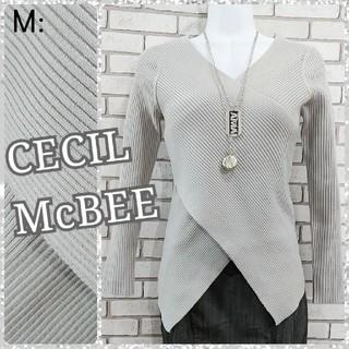 CECIL McBEE - M: 新品 ニットトップス/セシルマクビー★未使用★ライトグレー