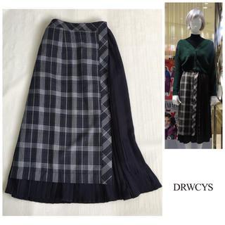 ドロシーズ(DRWCYS)のDROWCYS みもれ丈 異素材 切り替え シフォンプリーツ チェック スカート(ひざ丈スカート)