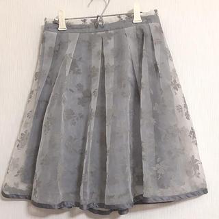 グレイル(GRL)のGRL グレー花柄 オパールスカート オーガンジー素材(ミニスカート)
