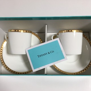 Tiffany & Co. - ティファニーゴールドバンド ペアデミカップ&ソーサー