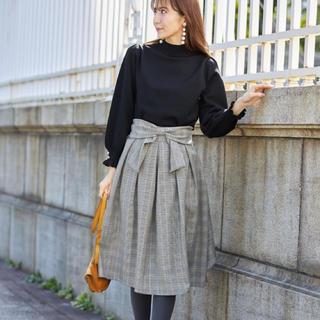 リボン付きパール鉛チェック柄フレアスカート(ひざ丈スカート)