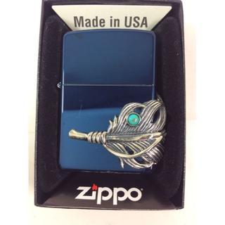 ジッポー(ZIPPO)のZippo ビックフェザー メタル+ターコイズ/ストーンシルバー 3面 ブルー(タバコグッズ)