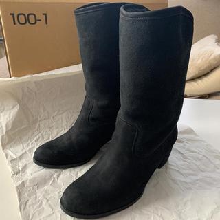 ニジュウサンク(23区)の23区 ムートン ブーツ 44 ブラック スエード 24~24.5cm 黒(ブーツ)