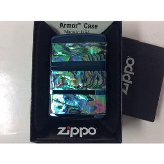 ジッポー(ZIPPO)の限定 Zippo アーマー シェル フェイス 3面 天然貝 ブルー IPBL(タバコグッズ)