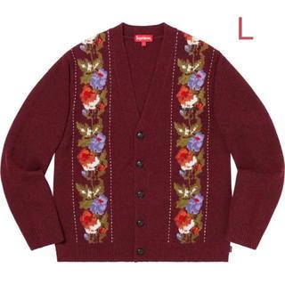 シュプリーム(Supreme)の(求)supreme floral stripe cardigan red L(カーディガン)