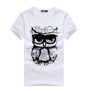 在庫処分 ふくろうデザイン♪ 半袖 Tシャツ  L 白 メンズ レディース (Tシャツ/カットソー(半袖/袖なし))