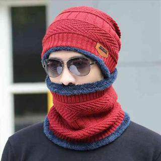 メンズ ニット帽 ネックウォーマー レッド セット バイカラー マフラー ワッチ(ニット帽/ビーニー)