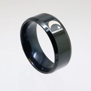 月ステンレスリング ブラック 17号 新品 クリックポスト送料無料(リング(指輪))