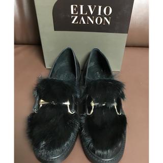 スコットクラブ(SCOT CLUB)の新品 ELVIO ZANON 牛革 ラビットファー ローファー スコットクラブ(ローファー/革靴)