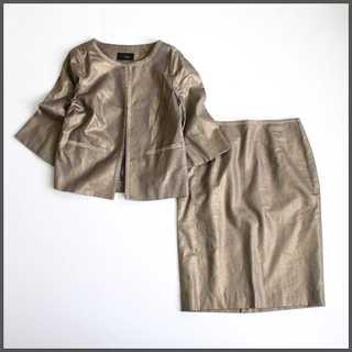 モディファイ★キラキラ セットアップスーツ ゴールドブラウン 42(L相当)麻(スーツ)