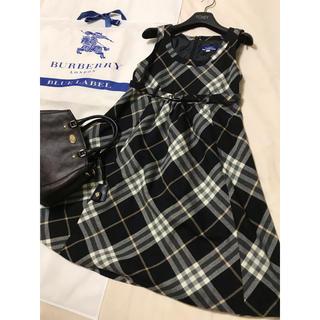 バーバリーブルーレーベル(BURBERRY BLUE LABEL)の美品 バーバリー ブルーレーベル ワンピース チェック ブラック 黒(ひざ丈ワンピース)