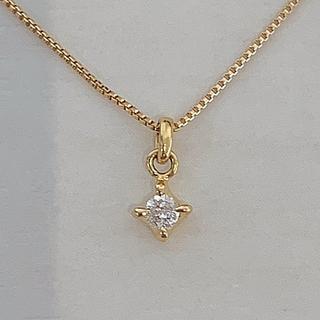 agete - 値下げ☆アガット 一粒ダイヤモンドネックレス K18YG 0.05ct