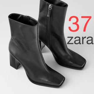 ザラ(ZARA)のzara 完売 スクエアトゥ ハイヒール レザー アンクルブーツ(ブーツ)