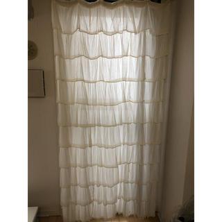 ミラーレースカーテン フリル 縦120cm ×幅100cm