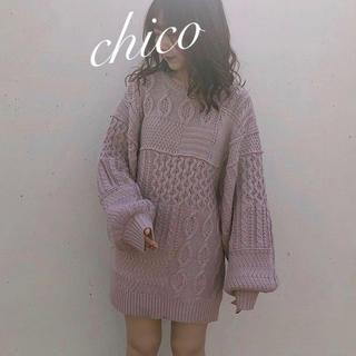 who's who Chico - 新品❁フーズフーチコ パッチワーク風ケーブルチュニック