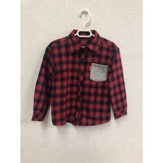 ロデオクラウンズ(RODEO CROWNS)のロデオクラウンズ シャツ 110サイズ チェック 赤 長袖 (Tシャツ/カットソー)