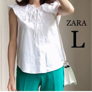 ZARA - 【新品・未使用】ZARA ピーターパン襟 ポプリン  ノースリーブ ブラウス L