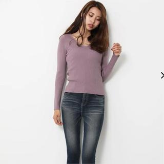 rienda - rienda♡Washable VN RIB Knit TOP
