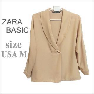 ザラ(ZARA)のZARA BASIC*ザラ*ピンクベージュ系スキッパータックブラウス*USA M(シャツ/ブラウス(長袖/七分))