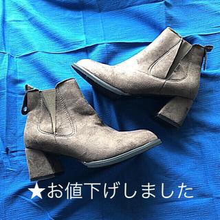 ✨送料込✨スエード調ショートブーツ★サイドゴア★グレージュ★39(ブーツ)