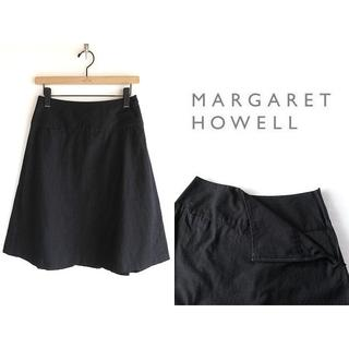 マーガレットハウエル(MARGARET HOWELL)のマーガレットハウエル ドライコットン タックフレアスカート 黒(ひざ丈スカート)