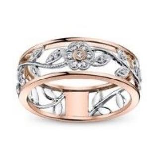 ピンクゴールド&シルバーフラワー モチーフリング(リング(指輪))