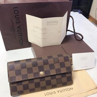 LOUIS VUITTON - 値下げ‼️正規品‼️ルイヴィトン ダミエ 長財布 ブラウン ボタン