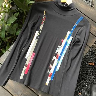 着物 リメイク タートルネック カットソー 長袖 黒 パッチワーク 綿100%(Tシャツ/カットソー(七分/長袖))