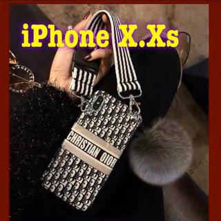iPhone - iPhone ケース ショルダーストラップandファ〜ボンボン付き X.Xs