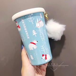 スターバックスコーヒー(Starbucks Coffee)のストラップ付!クリスマス 白熊 熊 ステンレスタンブラー 台湾スターバックス (キャラクターグッズ)