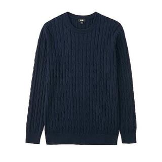 UNIQLO - ★ユニクロ★コットンカシミヤケーブルクルーネックセーター 綿95%カシミヤ5%