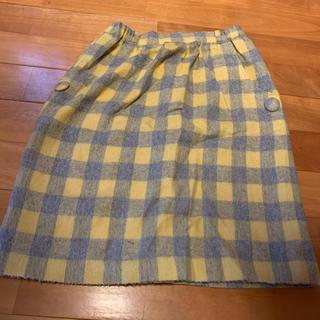 サマンサモスモス(SM2)の黄色 チェックスカート(ひざ丈スカート)