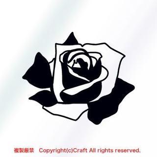 バラ/ステッカー(黒)屋外耐候素材/9cm薔薇ROSE(車外アクセサリ)