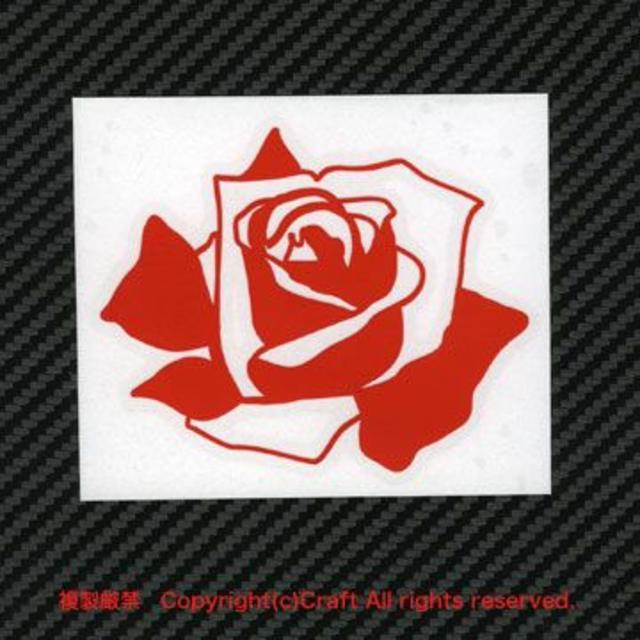 バラ/ステッカー(赤)屋外耐候素材/9cm薔薇ROSE 自動車/バイクの自動車(車外アクセサリ)の商品写真