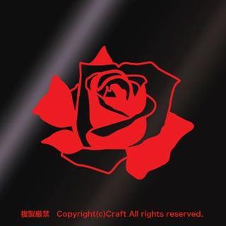 バラ/ステッカー(赤)屋外耐候素材/9cm薔薇ROSE(車外アクセサリ)
